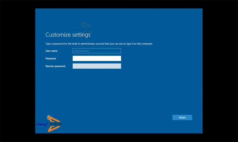 تعیین پسورد هنگام نصب ویندوز سرور 2016 در vmware - آریستک